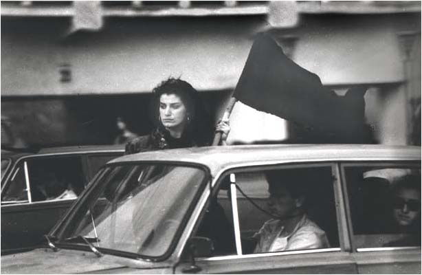 A Woman In Car Carrying Georgian Flag On April 9 1989