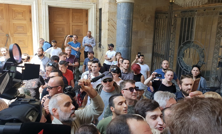 Protesters try storming Georgian Parliament over Russian lawmaker's visit